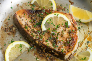 Panseared Lemon Garlic Swordfish In A Skillet Picture Id1198723031